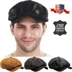100% Genuine Leather Mens Ivy Hat Golf Driving Ascot Flat Ca