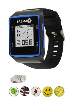 Amba9 GPS Golf Watch Bundle with 5 Ball Markers, Hat Clip