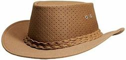 Aussie Chiller Bushie Perforated Hats Tan Large