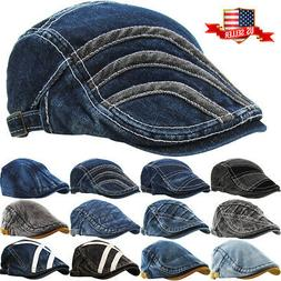 Denim Classic Newsboy Ivy Gatsby Cap Mens Denim Hat Golf Dri