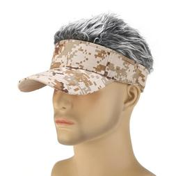 Fashion Men Baseball Golf Hat Cap Sun Visor Wig Hat With Fak