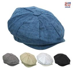 Fashion Men's Linen 8 Panel Applejack Gatsby Newsboy Ivy Hat