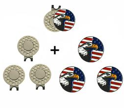 Golf Magnetic Hat Clip with Ball Markers Value 3 Pcs USA Fla