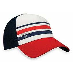 Callaway Golf Mesh Fitted Striped Hat USA Red White Blue Lar
