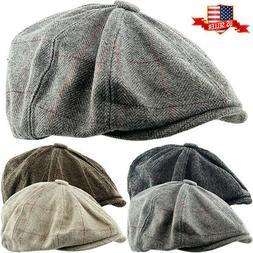 Herringbone Applejack Wool Blend Newsboy Gatsby Ivy Hat Golf