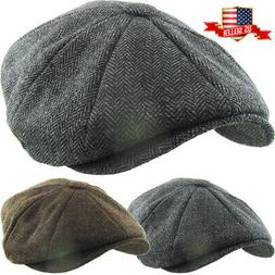 Herringbone Applejack Wool Blend Newsboy Gatsby Ivy Hat Golf