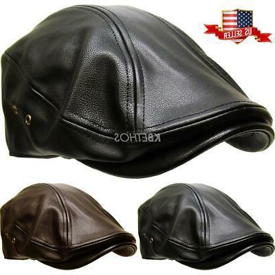 classic pu leather newsboy gatsby ivy hat