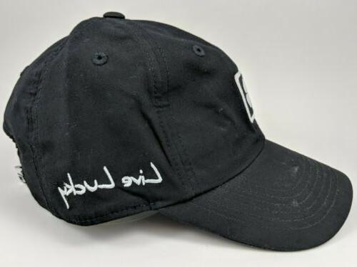 Black Golf Hat ~ Black Adjustable Baseball Cap ~ Live Lucky