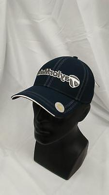 New Taylormade Golf Flush 2.0 Fitted Hat S/M Navy Contrast S