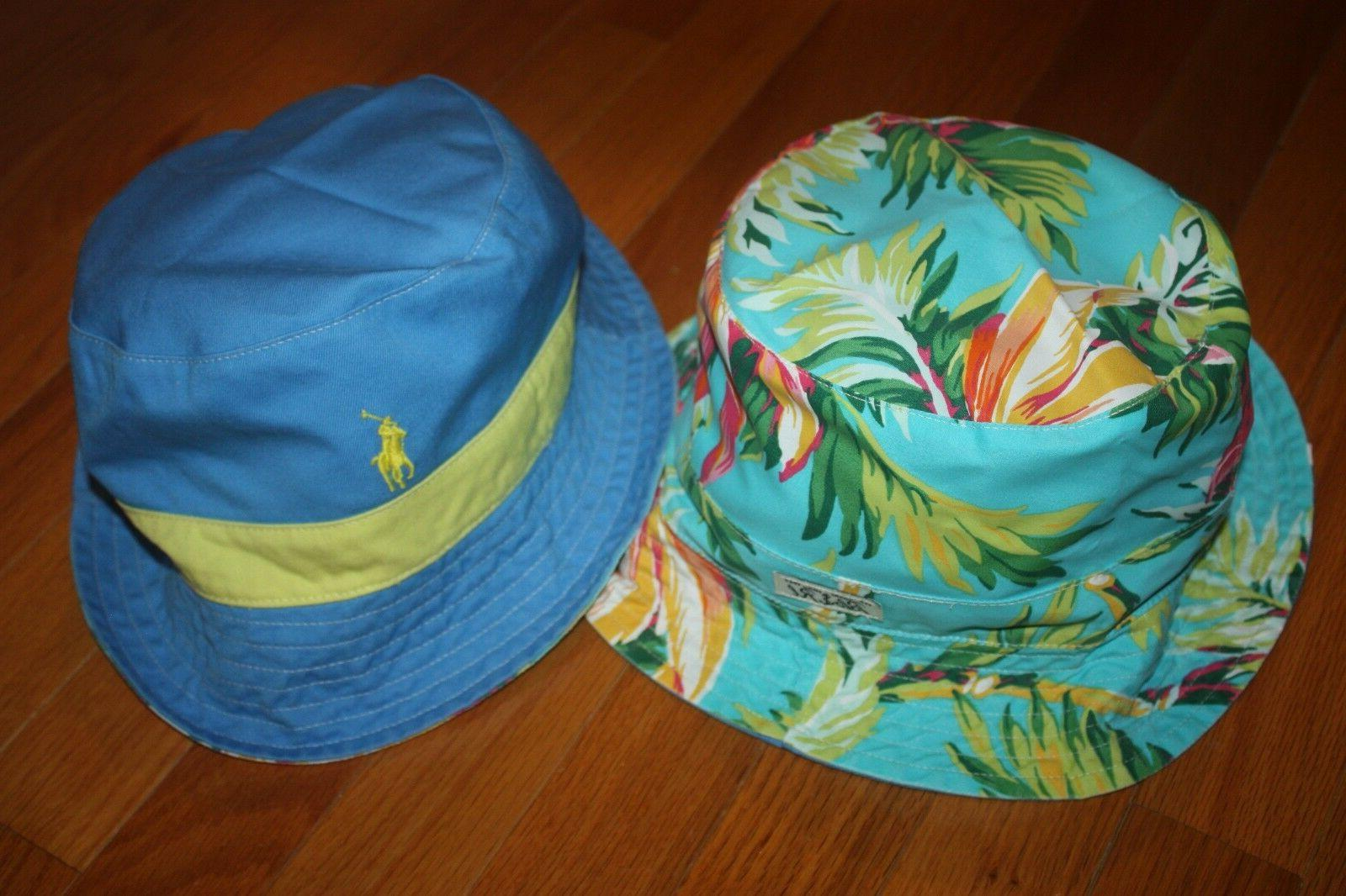 nwt reversible blue palm floral bucket golf