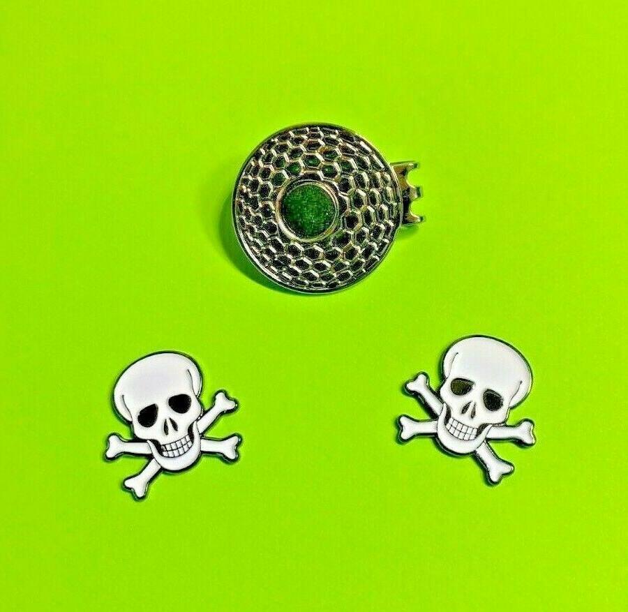 Skull Ball marker 2 and hat Metal Enamel