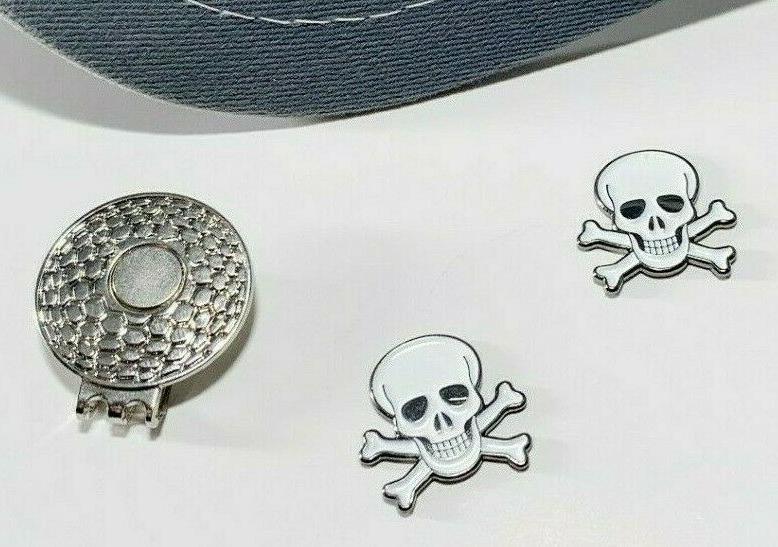 Skull & Crossbones Golf Ball marker 2 and 1 Metal
