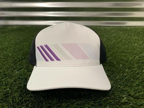 snapback stripe trucker golf hat white black