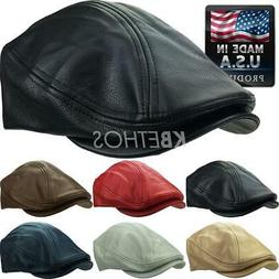 Made in USA 100% Genuine Leather Ascot Newsboy Ivy Hat Cap G
