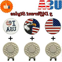 Magnetic Hat Clip Golf Ball Markers 3 Style  American Flag E