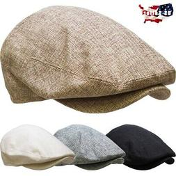 Men's Cabbie Newsboy Ascot Ivy Hat Cap Plaid Solid Gatsby Go