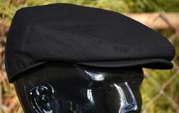 Men's Plain Black Cotton Newsboy Ivy Cap Flat Hat Cabbie Dri