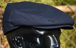 Men's Plain Navy Blue Cotton Newsboy Ivy Cap Flat Hat Cabbie