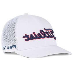 TITLEIST MENS TOUR SNAPBACK MESH ADJUSTABLE HAT CAP WHITE/BL