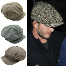 Mens Vintage Newsboy Ivy Cap Bunnet Beret Golf Wool Tweed Ca