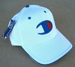 NEW MENS WHITE CHAMPION BRAND ADJUSTABLE HAT CAP W/ RAISED L