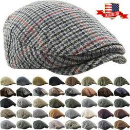 Newsboy Ivy Ascot Cabbie Hat Cap Plaid Wool Herringbone Gats