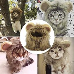 YAWALL Pet Costume Cosplay Lion Mane Wig Cap Hat for Cat Hal