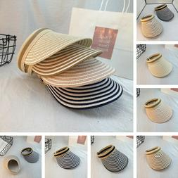 Summer Sun Protection Visor Hat Packable Wide Shade Straw Be