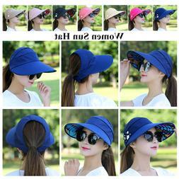 Rose Red Womens Sun Visor Hats Beach Golf Wide Brim Hats Lad
