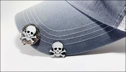 Skull & Crossbones Golf Ball marker 2 markers and 1 hat Clip