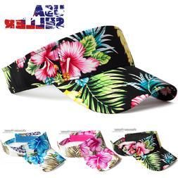 Sun Visor Cap Hawaiian Floral Flower Hat Adjustable Sports G