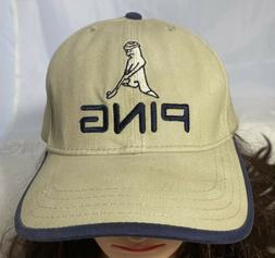 Vintage PING Golf Hat Adjustable Strap Beige Cap 100% Cotton