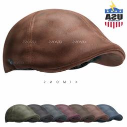 Vintage Leather Solid Gatsby Cap Mens Ivy Hat Golf Driving F