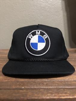 Vintage Style BMW Black Snap Back Trucker Rope Golf Hat