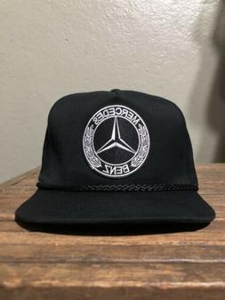 Vintage Style Mercedes Benz Black Snap Back Trucker Rope Gol