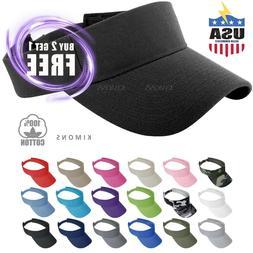 Visor Sun Plain Hat Sports Cap Colors Golf Tennis Beach Adju