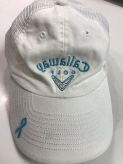 CALLAWAY GOLF Women's White/Teal Glitter Adjustable Golf Hat