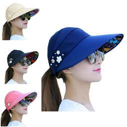 Womens Sun Visor Hats Beach Golf Wide Brim Hats Ladies UV Pr